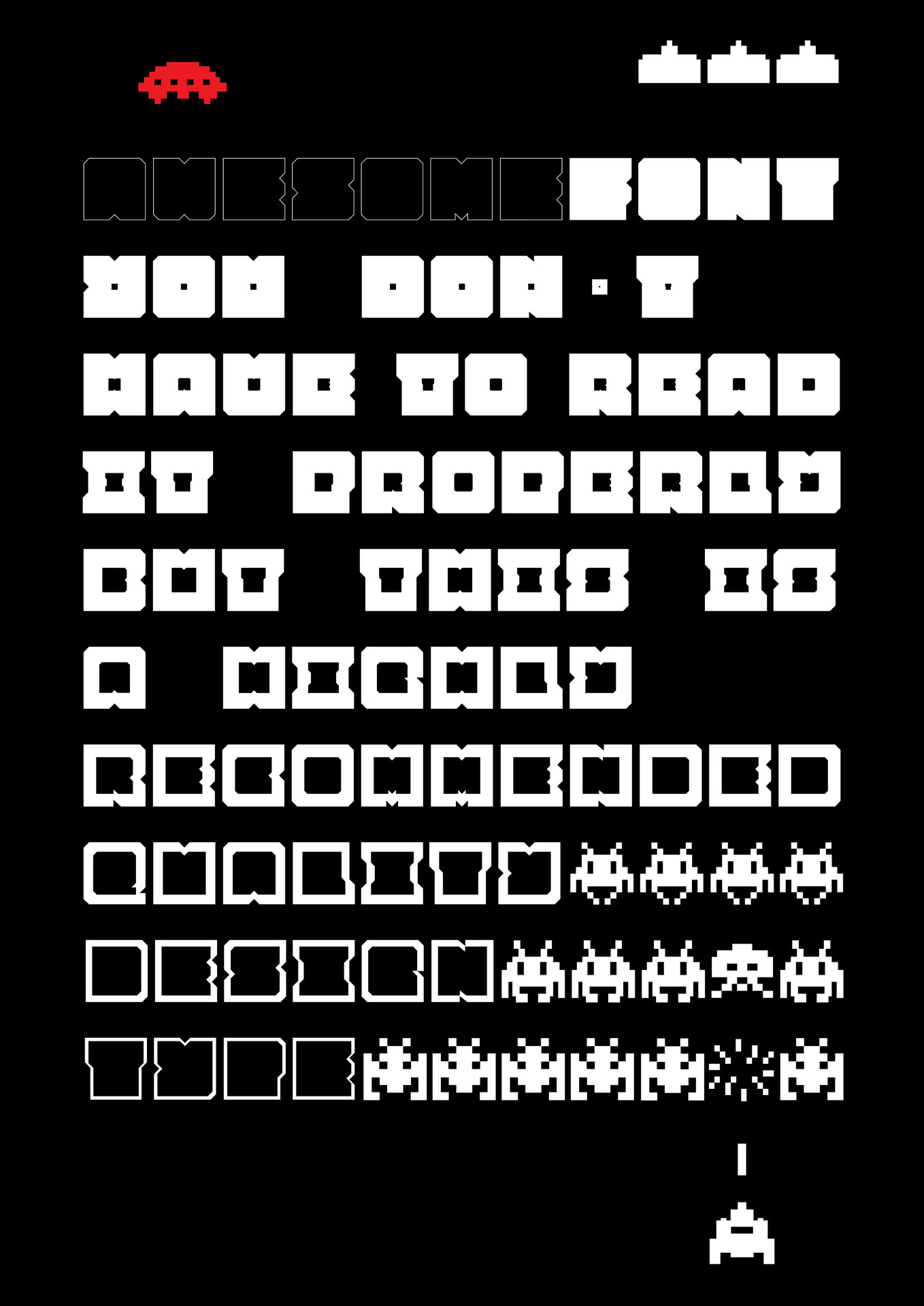 Space invader, experimental variable font, Sebastian Knöbber